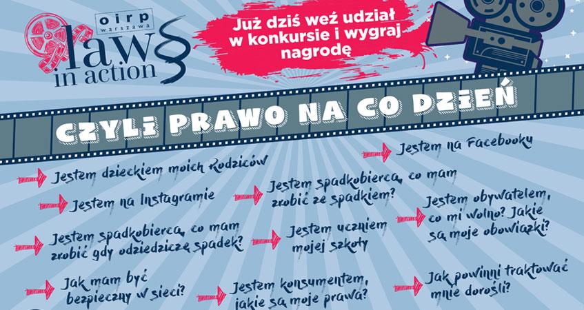 """OIRP w Warszawie ogłasza konkurs dla dzieci i młodzieży """"Law in action, czyli prawo na co dzień"""""""